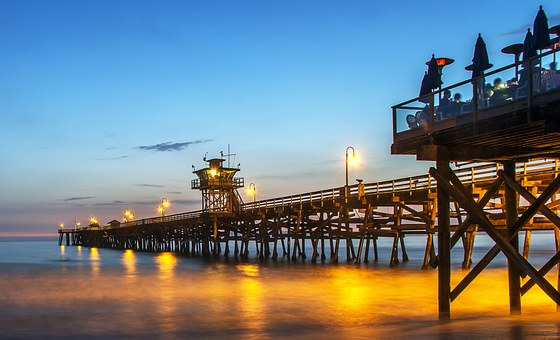 Pier, San Clemente, California, Ocean, Water, Usa
