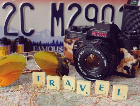 Travel, Camera, Analog, Beach, Summer, Sunglasses