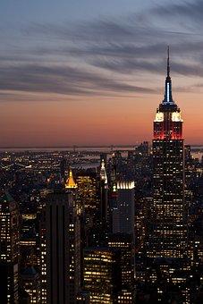 New York City, Night, Evening, Sky, Clouds, Buildings