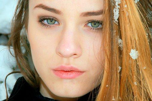 Girl, Green Eyes, Blonde, Portrait, Snow, Beauty