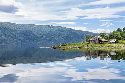 Fjord, Boat House, Water, Reflection, Summer, Norway