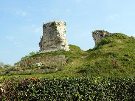 France, Landscape, Grass, Plants, Ruins, Stone, Sky