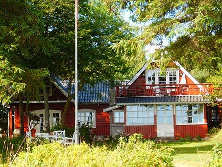 Villa, Sea, Denmark, House, Red, Ooden, Dacha