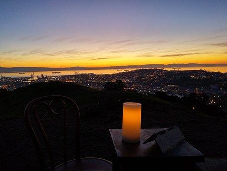 Sunrise, Bay, Water, Blue, Scenic, San Francisco Bay