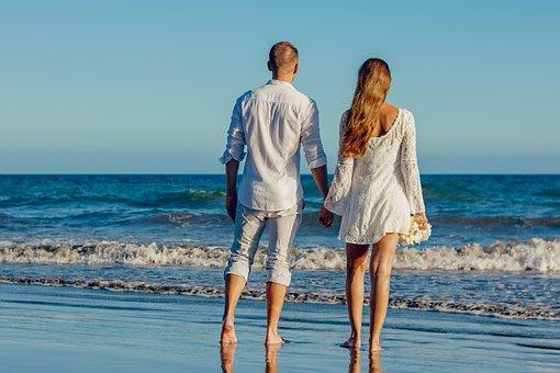 Wedding, Beach Wedding, Love, A Couple Of, Young Couple