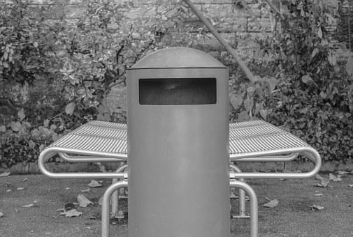 Garbage, Garbage Can, Bank, Bench, Park Bench, Art