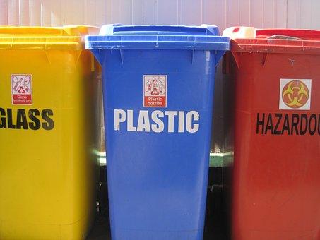 Recycling Bins, 3 Refuse Bins, Yellow, Blue, Red