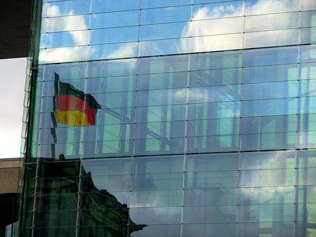Germany Flag, Flag, Mirroring, Facade, Building