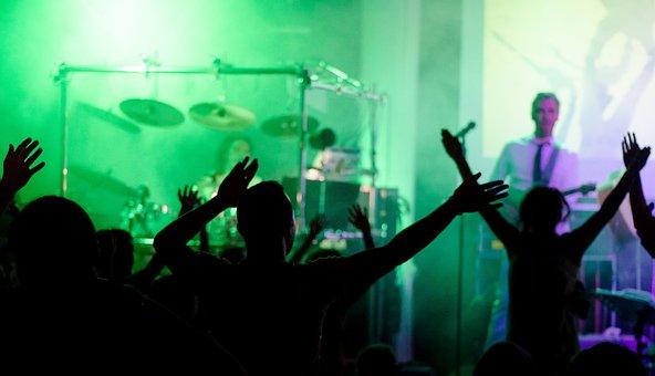 Concert, Cheering, People, Guitar, Drums, Event