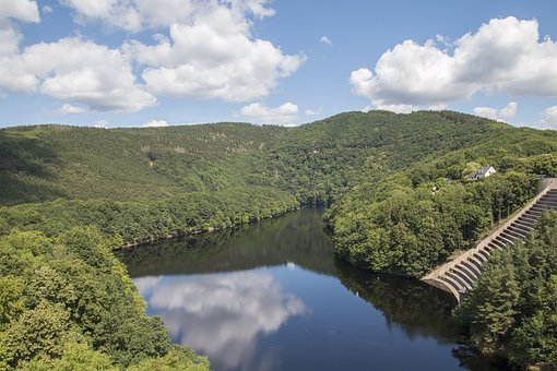 Reservoir, Dam, Lake, Forest, Eifel, Germany