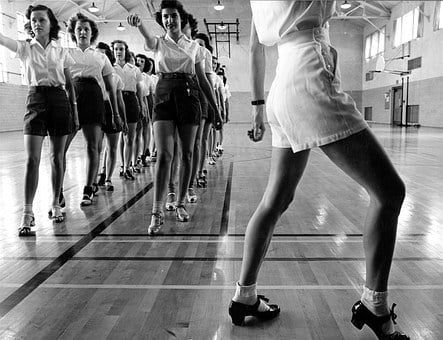 Dancing, Class, Children, Vintage, Retro, Old Times