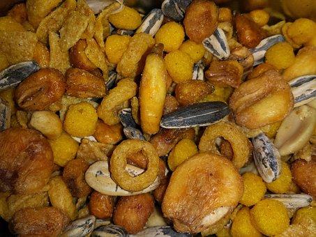 Pipes, Peanuts, Dried Fruits, Pepes, Corn