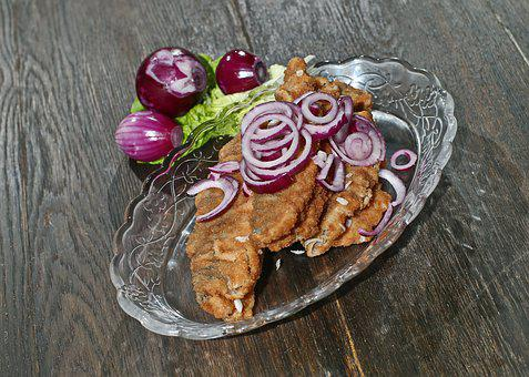 Fish, Herring, Fried, Fried Herring In Brine, Red Onion