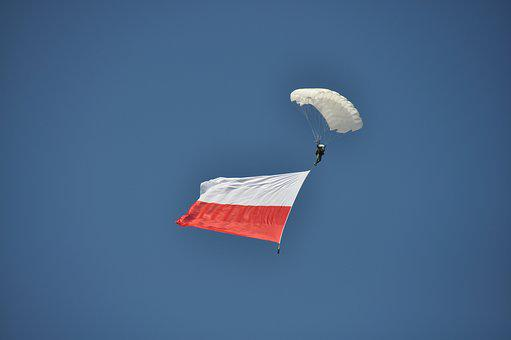 Flag, Poland, Sky, Blue, Parachute, Freedom