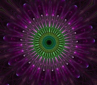 Purple, Mandala, Fractal, Glass, Abstract, Digital, Art