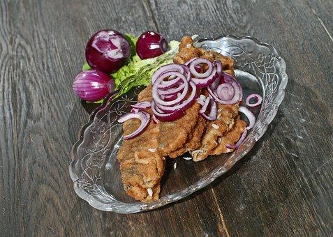 Fish, Herring, Fried, Fried Herring In Brine, Red Onion