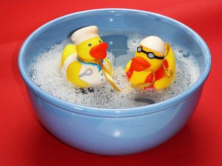 Bath, Splashing, Ducks, Joy, Friends, Happy, Funny