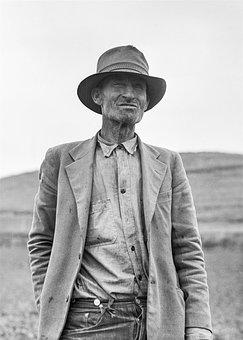 Old Man, Field, Farm, Hat, Farmer, Jacket, Vintage