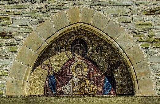 Lintel, Virgin Mary And Jesus, Panagia, Mosaic
