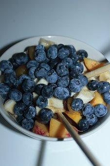 Salad, Fruit Salad, Bilberry, Pineapple, Mango, Peach