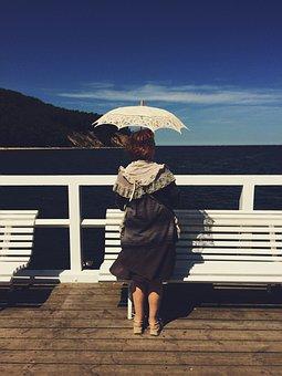 Woman, Umbrella, Classic, Old, Seascape, Water, Life