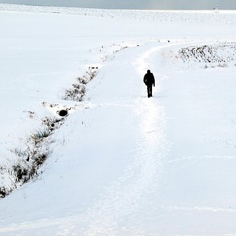 Man, Walking, Snow, Person, Outdoors, Male, Walk