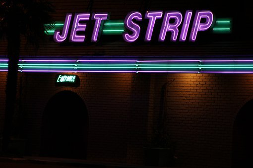 Jet, Strip, Logo, La, Club, Outside, Night