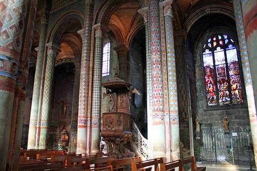Pulpit, Stained Glass, Church Interior, Pillars