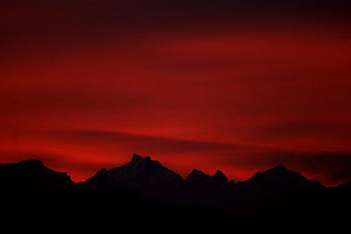 Morgenrot, Red, Sky, Dawn, Mood, Glow, Red Sky, Profile