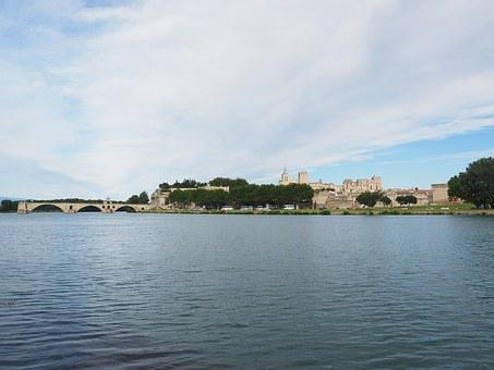 Avignon, City, City View, City Wall, River, Rhône