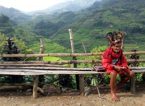 Shaman, Old Man, Rice Paddies, Feather Hat