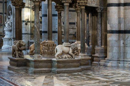 Pulpit, Lion, Dom, Siena, Nicola Pisano, Columnar