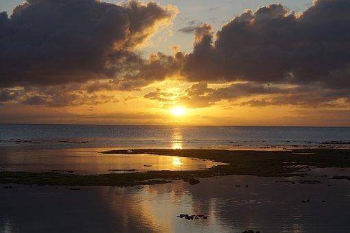 Glow, Beach, Sunset, Sea, Twilight, Evening Glow, Sky