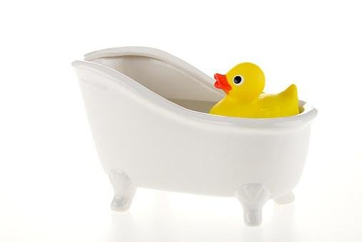 Duck, Bath, Water, Floats, Toy, Rubber, Yellow, Springy