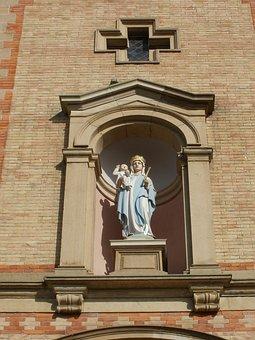 Statue, Madonna, Child, St Laurentius, Rheinhausen