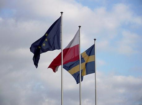 Flag, Sky, The Mast, Clouds, Poland, Sweden