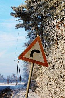Street Sign, Traffic Order, Wintry, Winter, Landscape