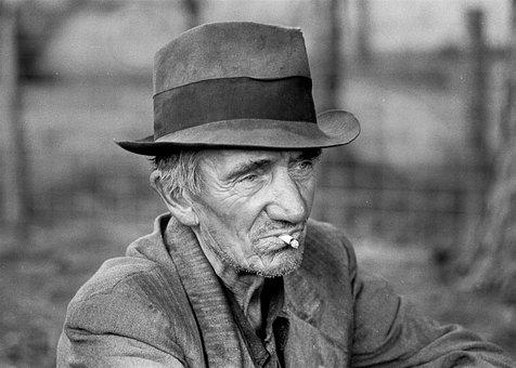 Old Man, Hat, Poor, Smoking, Farmer, Vintage, Retro