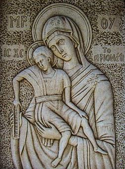 Engraving, Virgin Mary, Axion Esti, Wall, Church, Stone