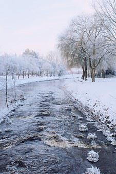 River, Wintry, Winter, Landscape, Snow, Snowy