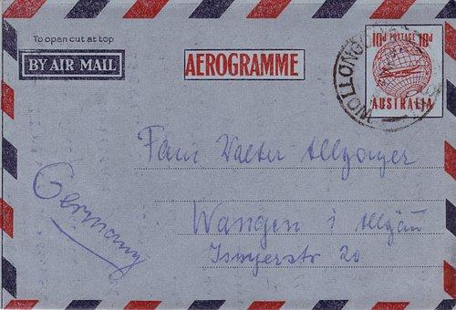 Letters, Air Mail, Envelope, Aerograms, Envelopes