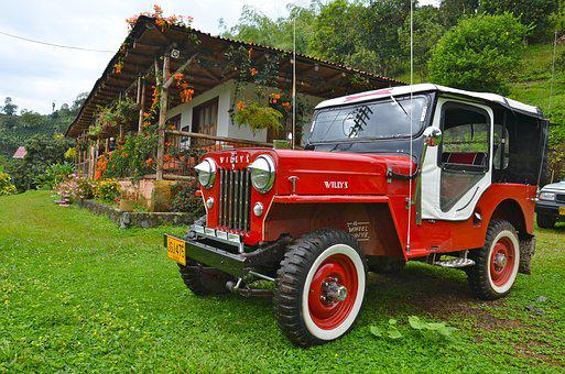 Colombia, Farm, Kettle, House, Jeep, Truck, Green