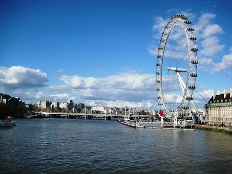 London, Ferris Wheel, London Eye, City, River, Cities