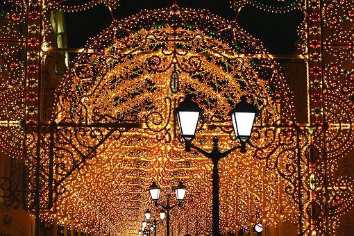 Christmas, Lights, Pedestrian Street, Moscow, Russia