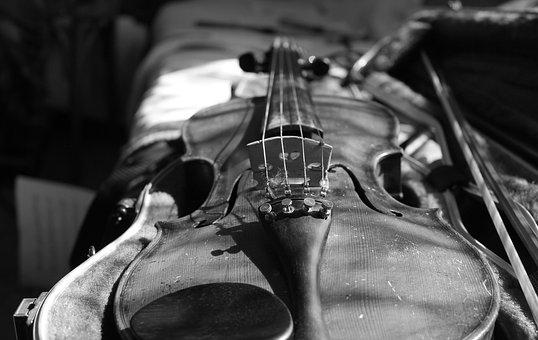 Violin, Black And White, Bow, Music, Musical Instrument