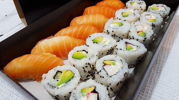 Sushi, Rolls, Japan Food, Fish Raw, Rice, Salmon