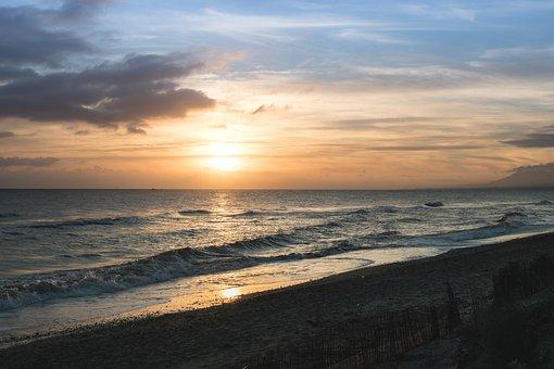 Sunset, Walk, Sun, Sky, Clouds, Beauty, Sea, Waves