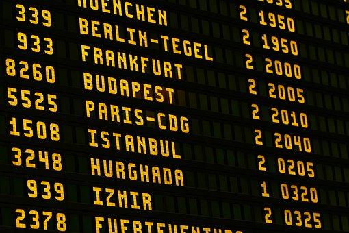 Airport, Board, Fly, Scoreboard, Letters, Ad