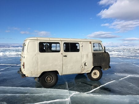 Russia, Lake Baikal, Mini Bus, Old Car, Ice