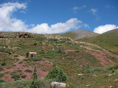 Colorado, Landscape, Scenic, Mine Shack, Sky, Clouds